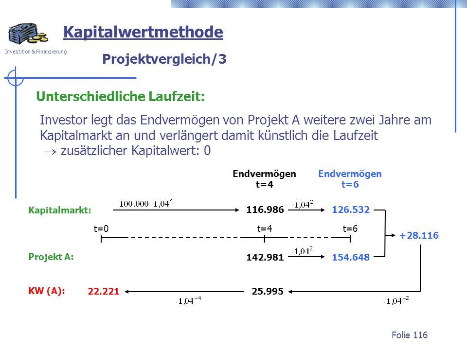 Investition & Finanzierung Folie 116 Kapitalwertmethode Unterschiedliche Laufzeit: Projektvergleich/3 Investor legt das Endvermögen von Projekt A weitere zwei Jahre am Kapitalmarkt an und verlängert damit künstlich die Laufzeit zusätzlicher Kapitalwert: 0 Kapitalmarkt: 116.986 Endvermögen t=4 +28.116 25.995 22.221 KW (A): 126.532 Endvermögen t=6 154.648 Projekt A: 142.981 t=0t=4t=6