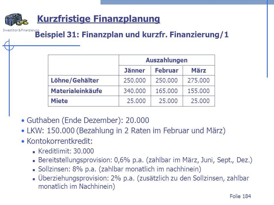 Investition & Finanzierung Folie 184 Beispiel 31: Finanzplan und kurzfr.