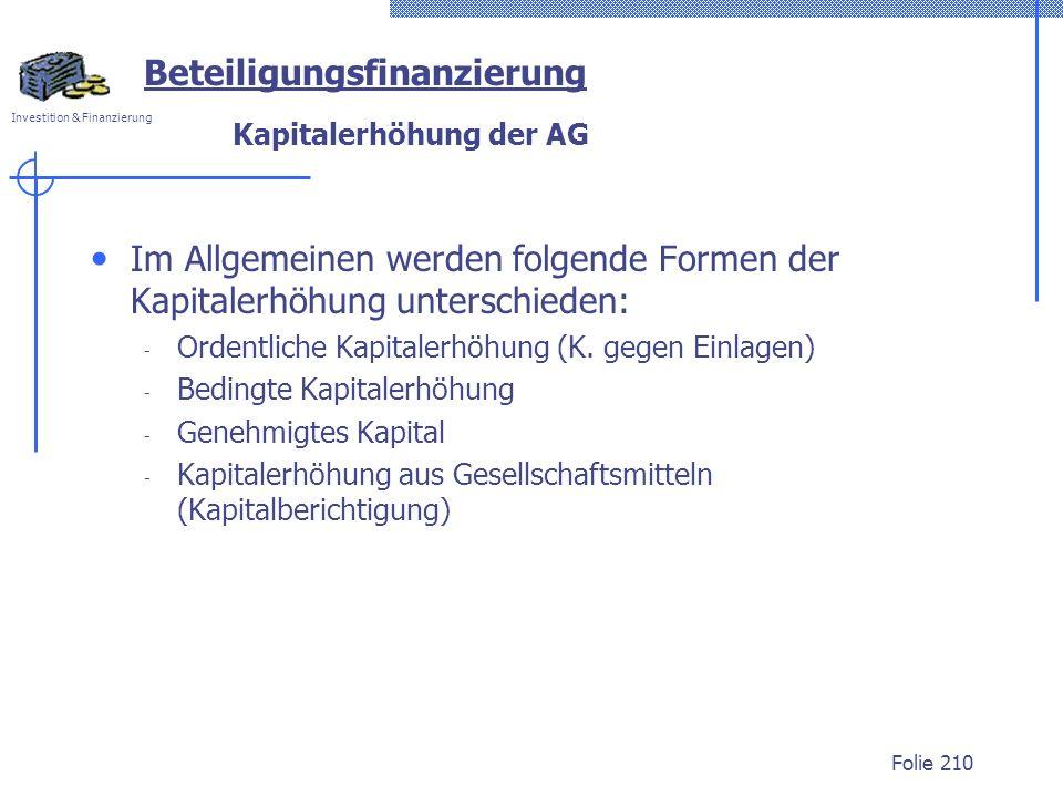 Investition & Finanzierung Folie 210 Kapitalerhöhung der AG Im Allgemeinen werden folgende Formen der Kapitalerhöhung unterschieden: - Ordentliche Kapitalerhöhung (K.