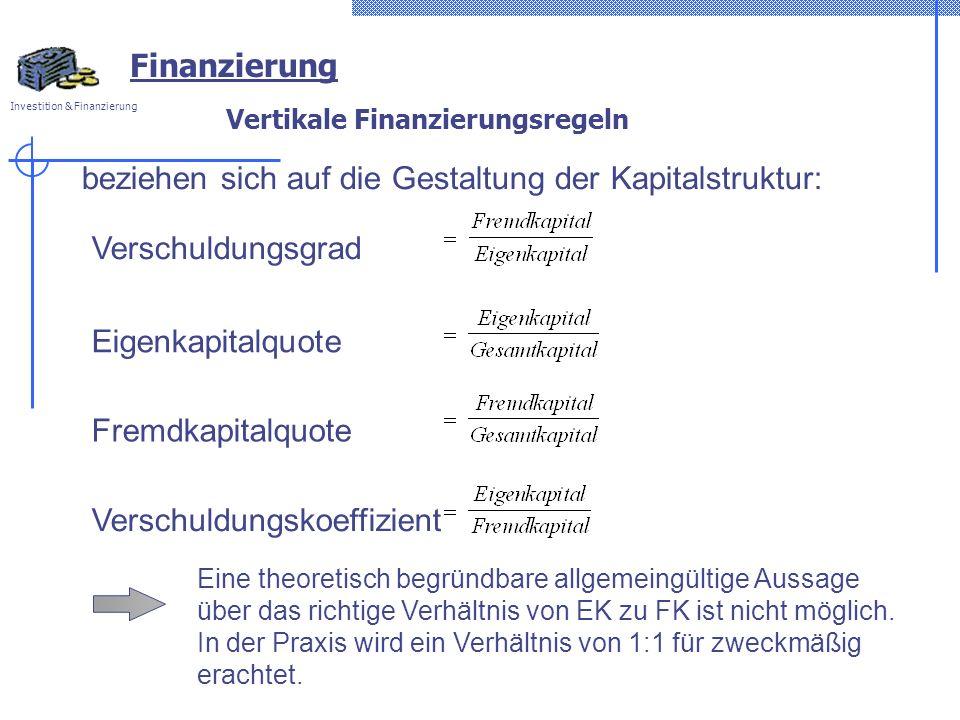 Investition & Finanzierung Vertikale Finanzierungsregeln beziehen sich auf die Gestaltung der Kapitalstruktur: Verschuldungsgrad Eigenkapitalquote Fremdkapitalquote Verschuldungskoeffizient Eine theoretisch begründbare allgemeingültige Aussage über das richtige Verhältnis von EK zu FK ist nicht möglich.