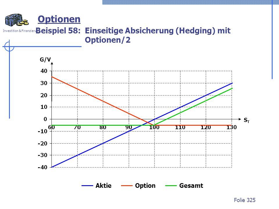 Investition & Finanzierung Folie 325 G/V STST Optionen Beispiel 58:Einseitige Absicherung (Hedging) mit Optionen/2 Aktie Option Gesamt