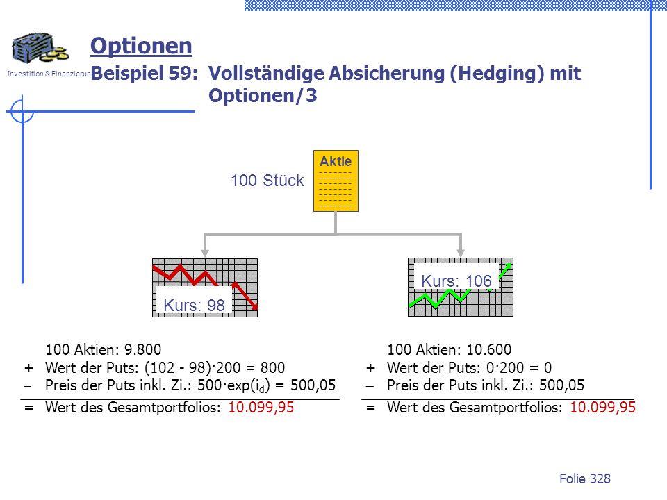 Investition & Finanzierung Folie 328 100 Stück Aktie Kurs: 106 Kurs: 98 100 Aktien: 9.800 + Wert der Puts: (102 - 98)·200 = 800 Preis der Puts inkl.