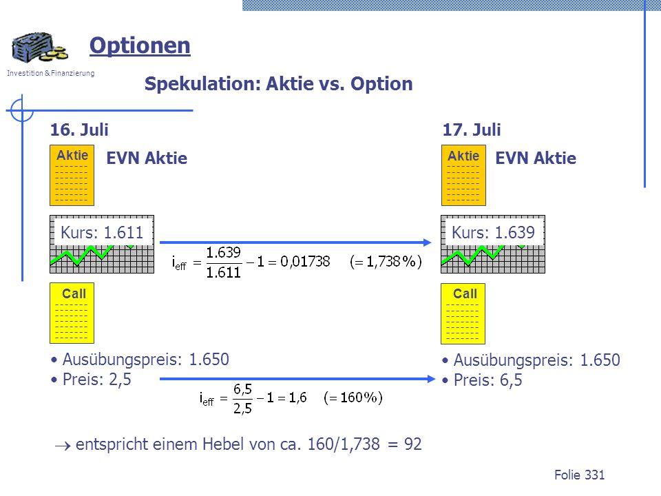 Investition & Finanzierung Folie 331 Aktie EVN Aktie 16.