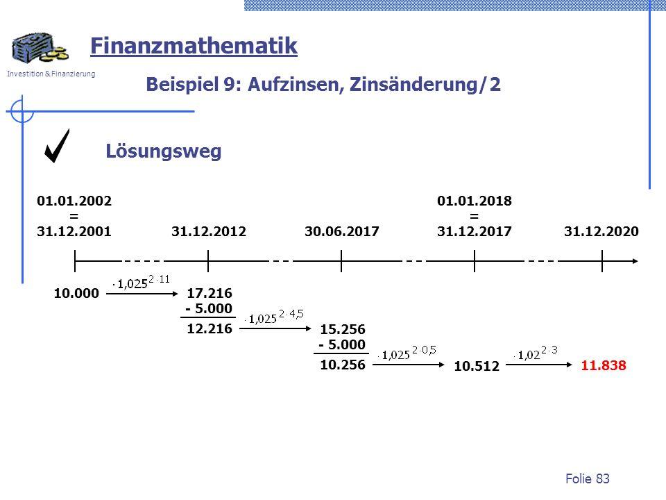 Investition & Finanzierung Folie 83 Lösungsweg Beispiel 9: Aufzinsen, Zinsänderung/2 Finanzmathematik 01.01.2002 = 31.12.200131.12.201230.06.201731.12.2020 01.01.2018 = 31.12.2017 10.000 10.512 11.838 17.216 - 5.000 12.216 15.256 - 5.000 10.256