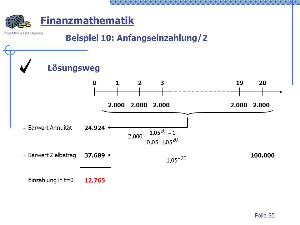 Investition & Finanzierung Folie 85 Lösungsweg Beispiel 10: Anfangseinzahlung/2 Finanzmathematik 2.000 01232019 Barwert Annuität 24.924 100.00037.689 Barwert Zielbetrag Einzahlung in t=0 12.765