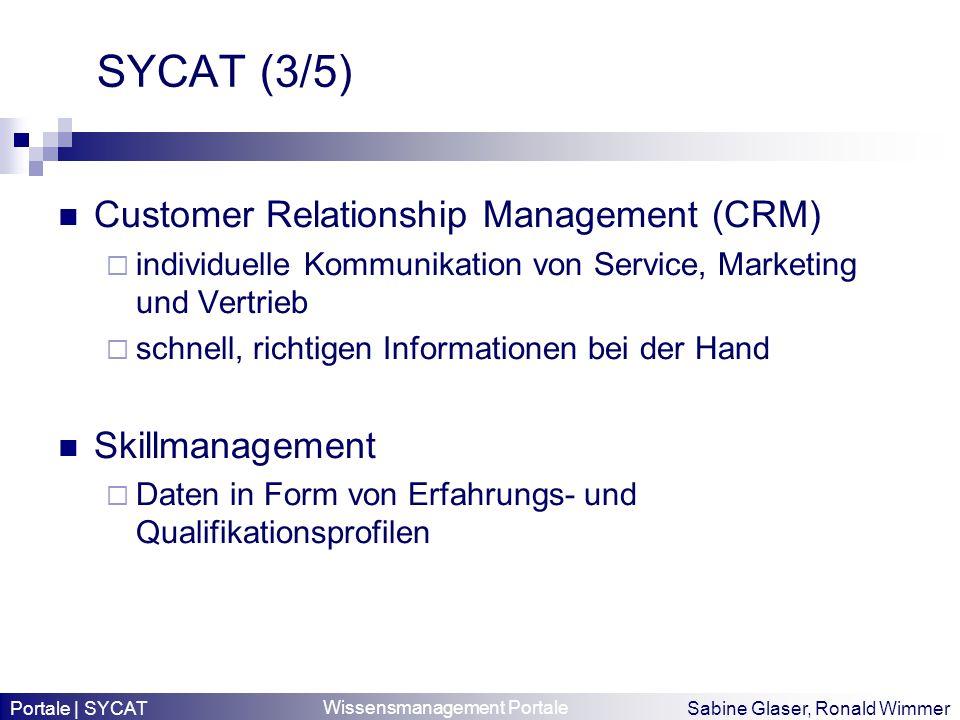 Wissensmanagement Portale Sabine Glaser, Ronald Wimmer SYCAT (3/5) Customer Relationship Management (CRM) individuelle Kommunikation von Service, Mark