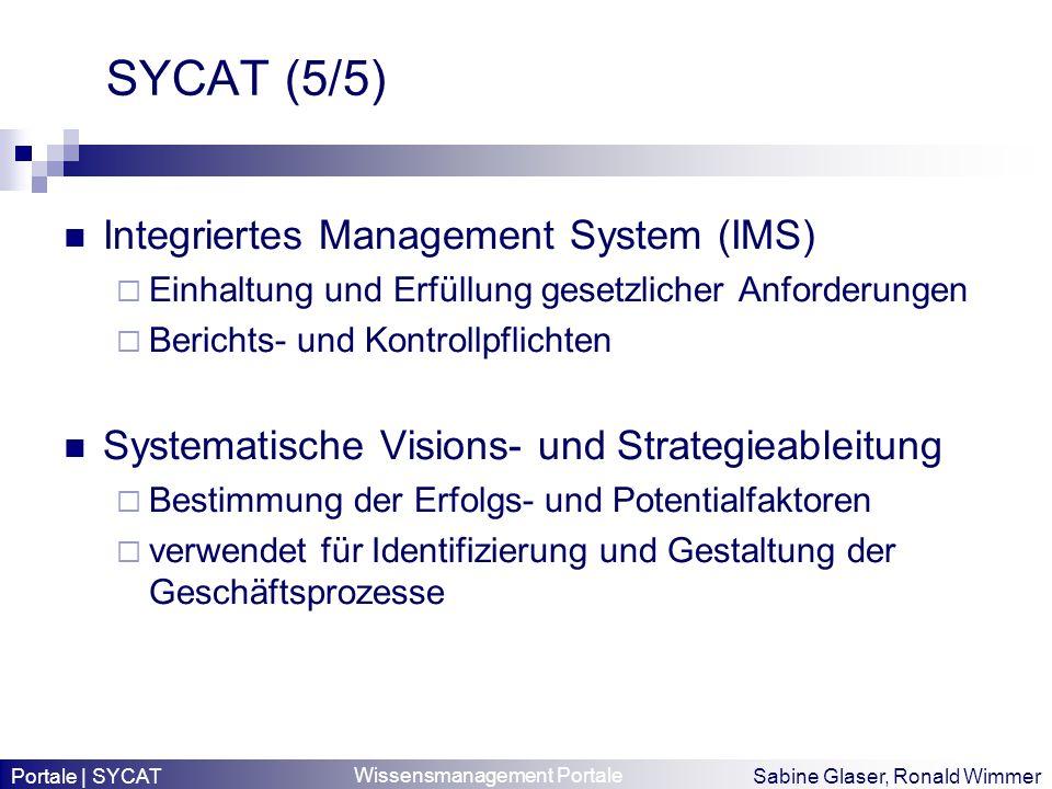 Wissensmanagement Portale Sabine Glaser, Ronald Wimmer SYCAT (5/5) Integriertes Management System (IMS) Einhaltung und Erfüllung gesetzlicher Anforder