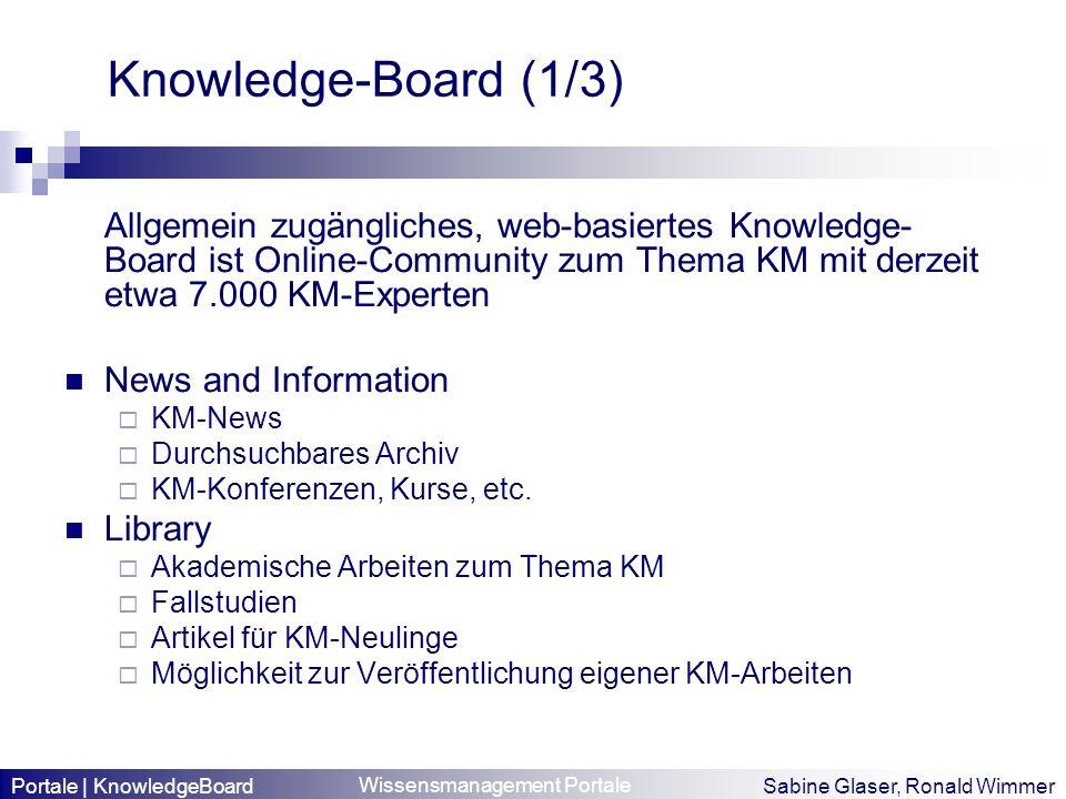Wissensmanagement Portale Sabine Glaser, Ronald Wimmer Knowledge-Board (1/3) Allgemein zugängliches, web-basiertes Knowledge- Board ist Online-Communi