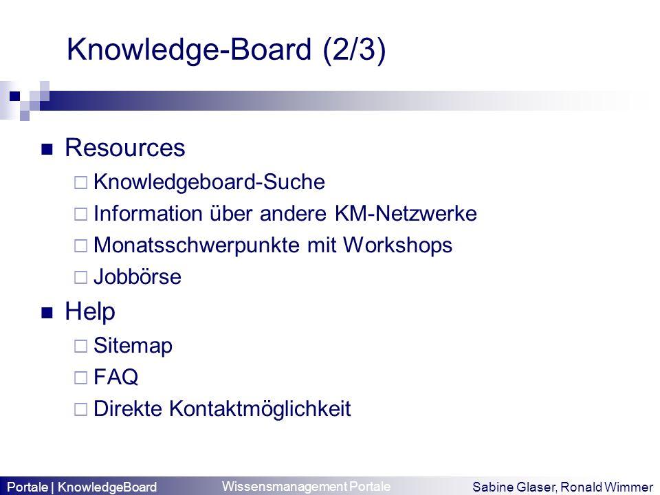 Wissensmanagement Portale Sabine Glaser, Ronald Wimmer Knowledge-Board (2/3) Resources Knowledgeboard-Suche Information über andere KM-Netzwerke Monat