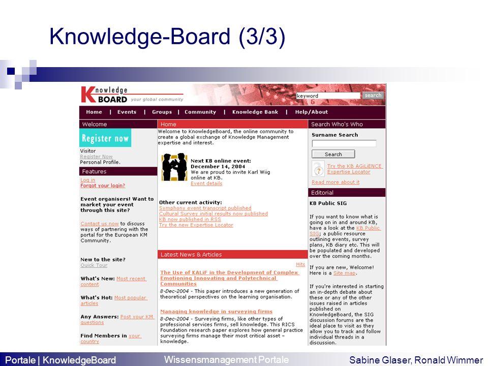 Wissensmanagement Portale Sabine Glaser, Ronald Wimmer Knowledge-Board (3/3) Portale | KnowledgeBoard