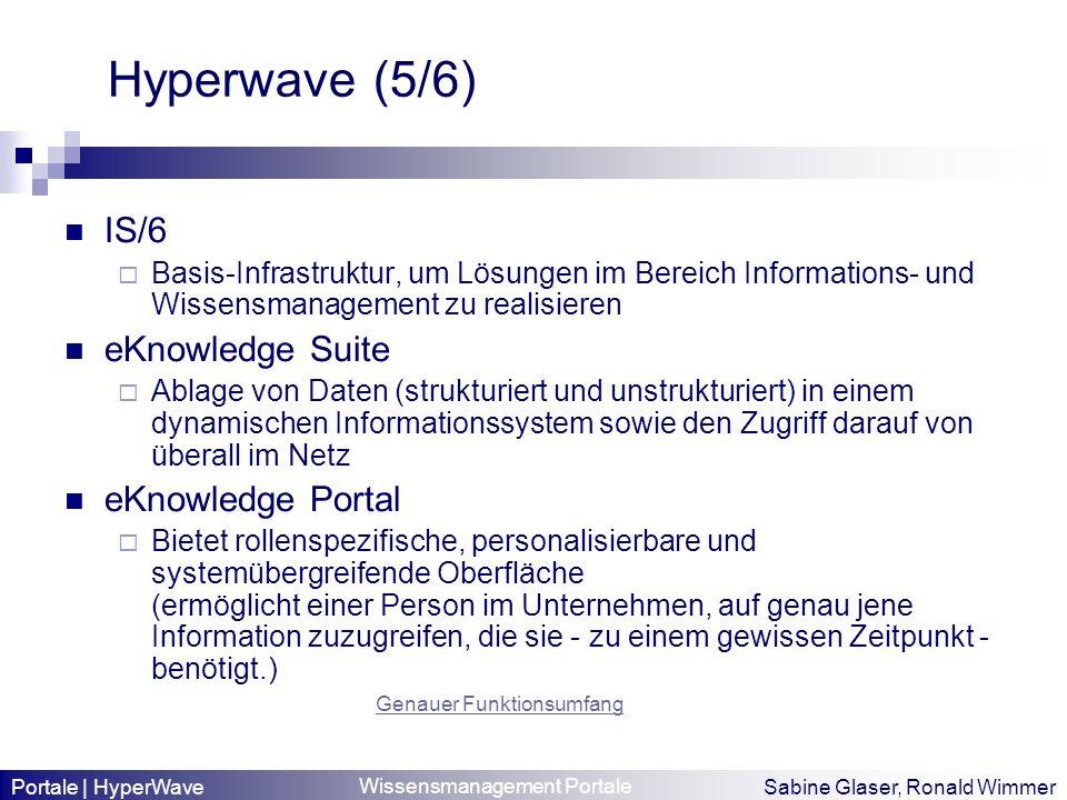 Wissensmanagement Portale Sabine Glaser, Ronald Wimmer Hyperwave (5/6) IS/6 Basis-Infrastruktur, um Lösungen im Bereich Informations- und Wissensmanag