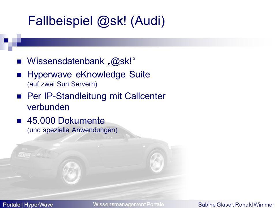 Wissensmanagement Portale Sabine Glaser, Ronald Wimmer Fallbeispiel @sk! (Audi) Wissensdatenbank @sk! Hyperwave eKnowledge Suite (auf zwei Sun Servern
