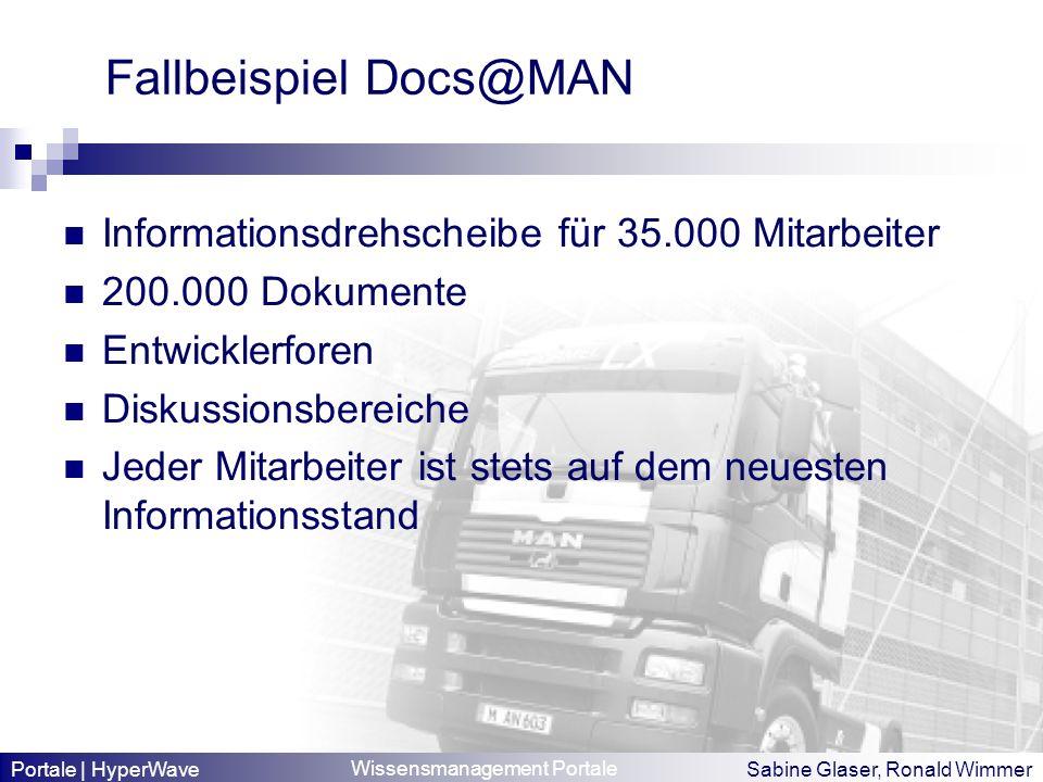 Wissensmanagement Portale Sabine Glaser, Ronald Wimmer Fallbeispiel Docs@MAN Informationsdrehscheibe für 35.000 Mitarbeiter 200.000 Dokumente Entwickl