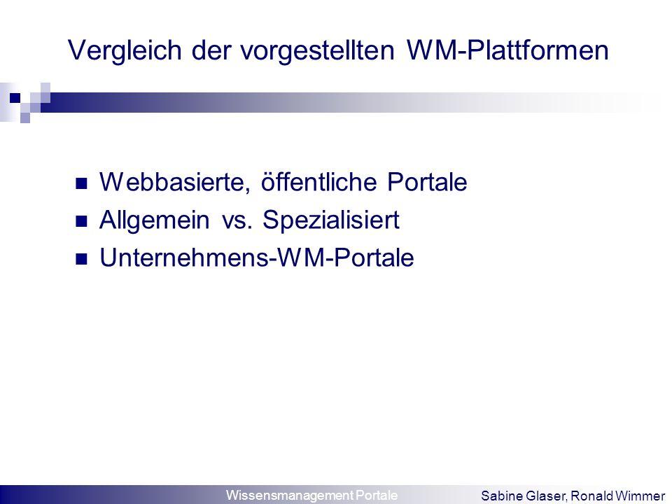 Wissensmanagement Portale Sabine Glaser, Ronald Wimmer Vergleich der vorgestellten WM-Plattformen Webbasierte, öffentliche Portale Allgemein vs. Spezi