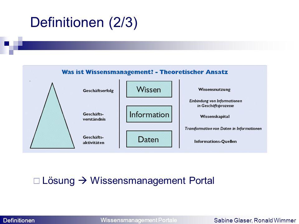 Wissensmanagement Portale Sabine Glaser, Ronald Wimmer Definitionen (2/3) Lösung Wissensmanagement Portal Definitionen