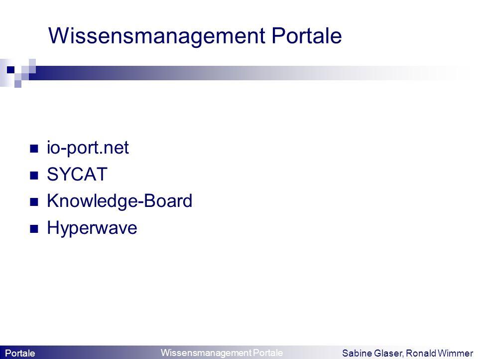 Wissensmanagement Portale Sabine Glaser, Ronald Wimmer Wissensmanagement Portale io-port.net SYCAT Knowledge-Board Hyperwave Portale