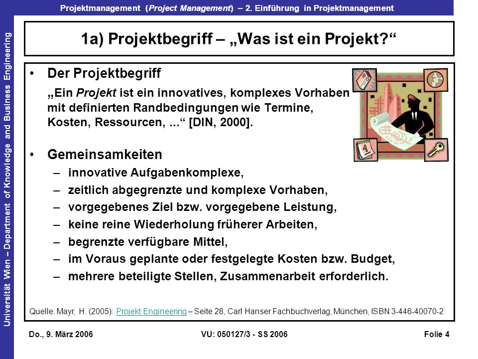 Projektmanagement (Project Management) – 2.