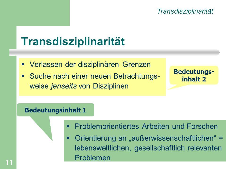 11 Transdisziplinarität Verlassen der disziplinären Grenzen Suche nach einer neuen Betrachtungs- weise jenseits von Disziplinen Transdisziplinarität Problemorientiertes Arbeiten und Forschen Orientierung an außerwissenschaftlichen = lebensweltlichen, gesellschaftlich relevanten Problemen Bedeutungsinhalt 1 Bedeutungs- inhalt 2