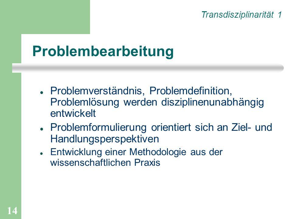 14 Problembearbeitung Problemverständnis, Problemdefinition, Problemlösung werden disziplinenunabhängig entwickelt Problemformulierung orientiert sich
