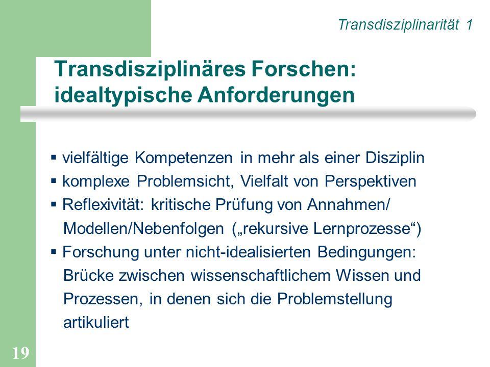 19 Transdisziplinäres Forschen: idealtypische Anforderungen vielfältige Kompetenzen in mehr als einer Disziplin komplexe Problemsicht, Vielfalt von Pe