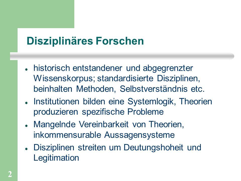 2 Disziplinäres Forschen historisch entstandener und abgegrenzter Wissenskorpus; standardisierte Disziplinen, beinhalten Methoden, Selbstverständnis etc.
