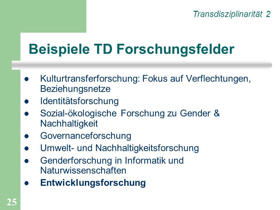 25 Beispiele TD Forschungsfelder Kulturtransferforschung: Fokus auf Verflechtungen, Beziehungsnetze Identitätsforschung Sozial-ökologische Forschung z