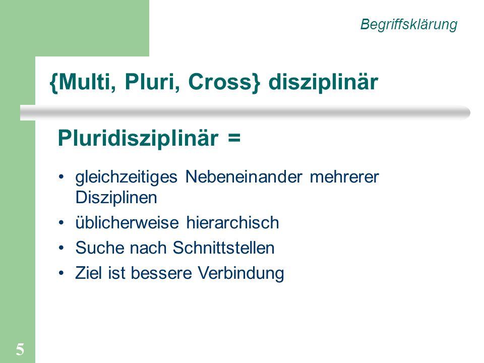 5 {Multi, Pluri, Cross} disziplinär Begriffsklärung Pluridisziplinär = gleichzeitiges Nebeneinander mehrerer Disziplinen üblicherweise hierarchisch Suche nach Schnittstellen Ziel ist bessere Verbindung