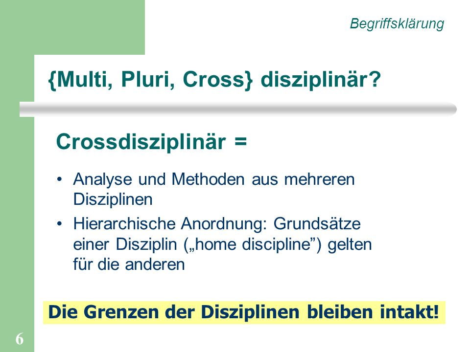 6 {Multi, Pluri, Cross} disziplinär? Begriffsklärung Crossdisziplinär = Analyse und Methoden aus mehreren Disziplinen Hierarchische Anordnung: Grundsä