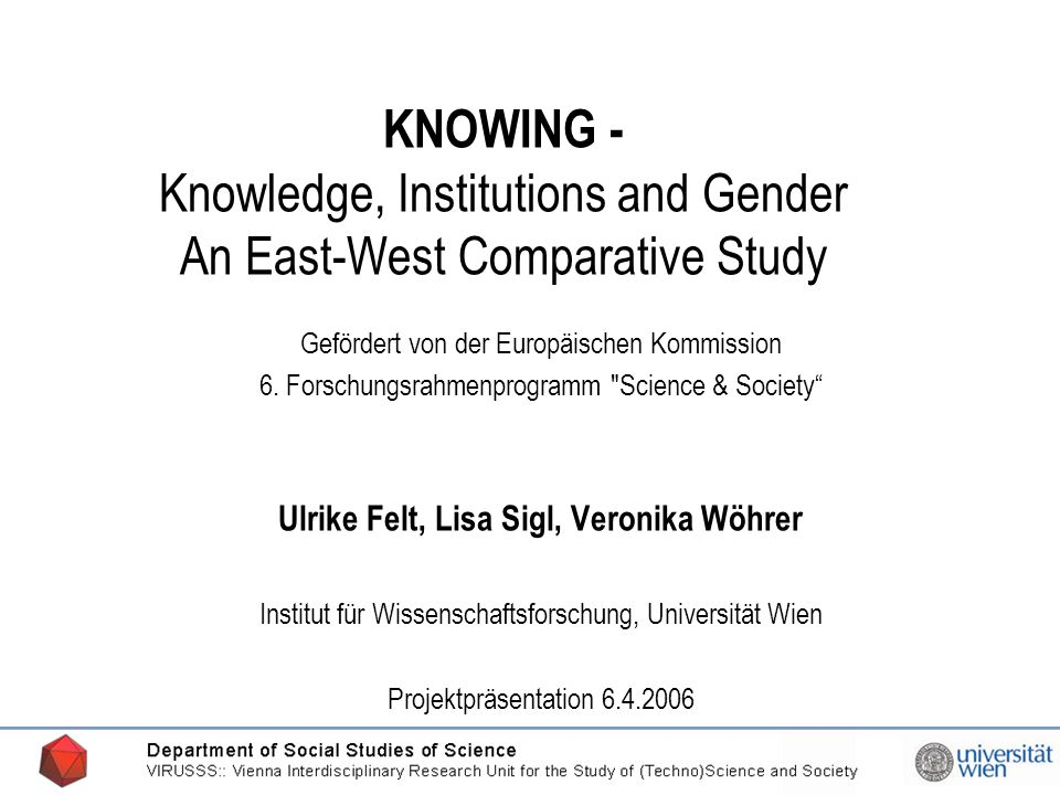 20.03.2006 KNOWING - Knowledge, Institutions and Gender An East-West Comparative Study Gefördert von der Europäischen Kommission 6.