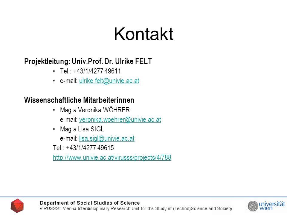 20.03.2006 Kontakt Projektleitung: Univ.Prof. Dr.