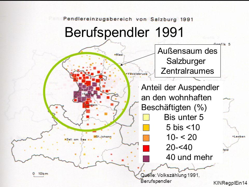 P218/ProgReg/14 Außensaum des Salzburger Zentralraumes Quelle: Volkszählung 1991, Berufspendler Anteil der Auspendler an den wohnhaften Beschäftigten (%) Bis unter 5 5 bis <10 10- < 20 20-<40 40 und mehr Berufspendler 1991 KINRegplEin14