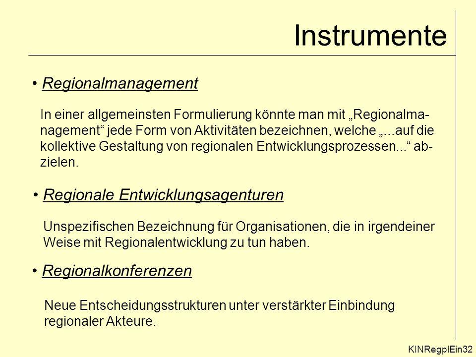 KINRegplEin32 Instrumente Regionalmanagement In einer allgemeinsten Formulierung könnte man mit Regionalma- nagement jede Form von Aktivitäten bezeichnen, welche...auf die kollektive Gestaltung von regionalen Entwicklungsprozessen...