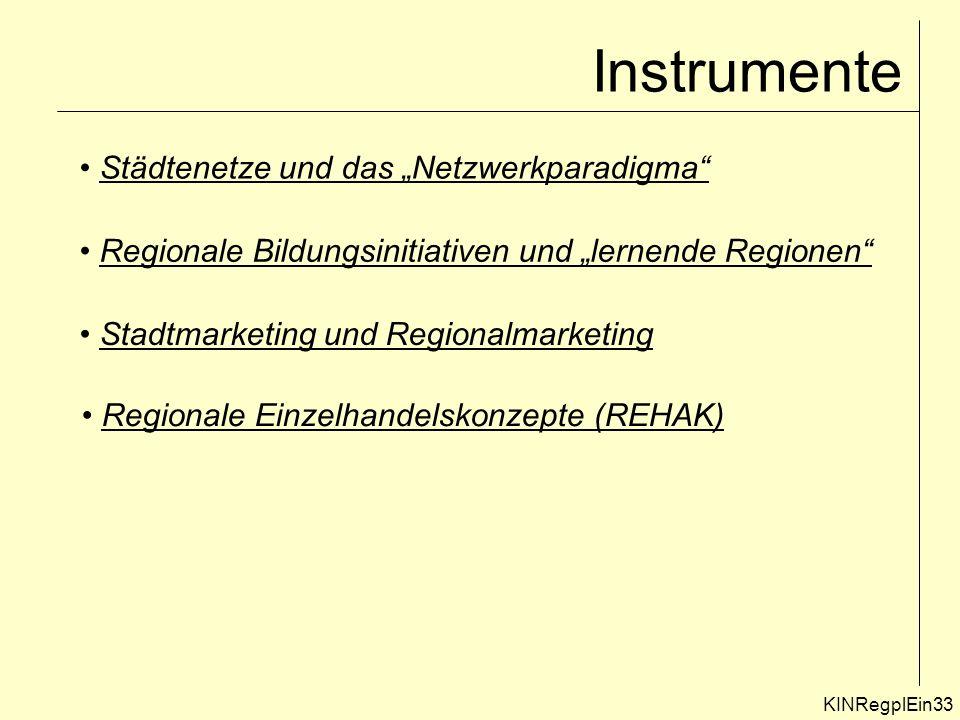 Instrumente KINRegplEin33 Städtenetze und das Netzwerkparadigma Regionale Bildungsinitiativen und lernende Regionen Stadtmarketing und Regionalmarketing Regionale Einzelhandelskonzepte (REHAK)