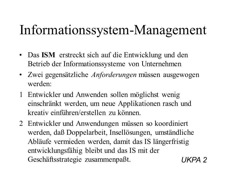 UKPA 2 Informationssystem-Management Das ISM erstreckt sich auf die Entwicklung und den Betrieb der Informationssysteme von Unternehmen Zwei gegensätz