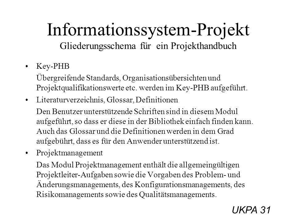 UKPA 31 Key-PHB Übergreifende Standards, Organisationsübersichten und Projektqualifikationswerte etc. werden im Key-PHB aufgeführt. Literaturverzeichn