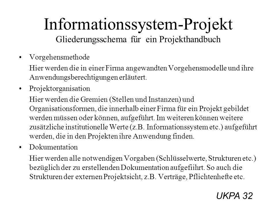 UKPA 32 Vorgehensmethode Hier werden die in einer Firma angewandten Vorgehensmodelle und ihre Anwendungsberechtigungen erläutert. Projektorganisation