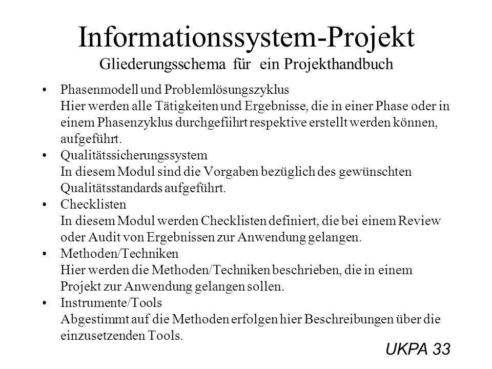 UKPA 33 Phasenmodell und Problemlösungszyklus Hier werden alle Tätigkeiten und Ergebnisse, die in einer Phase oder in einem Phasenzyklus durchgefiihrt
