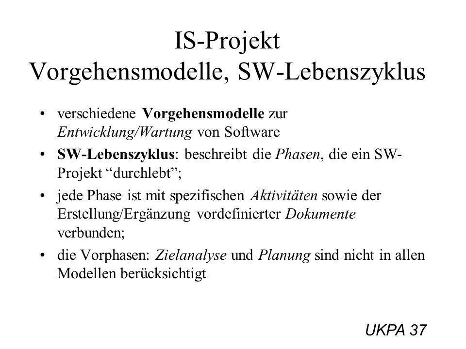 UKPA 37 IS-Projekt Vorgehensmodelle, SW-Lebenszyklus verschiedene Vorgehensmodelle zur Entwicklung/Wartung von Software SW-Lebenszyklus: beschreibt di