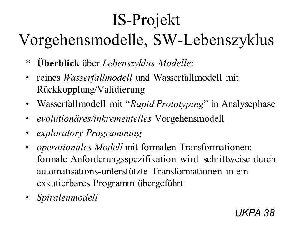 UKPA 38 IS-Projekt Vorgehensmodelle, SW-Lebenszyklus *Überblick über Lebenszyklus-Modelle: reines Wasserfallmodell und Wasserfallmodell mit Rückkopplu