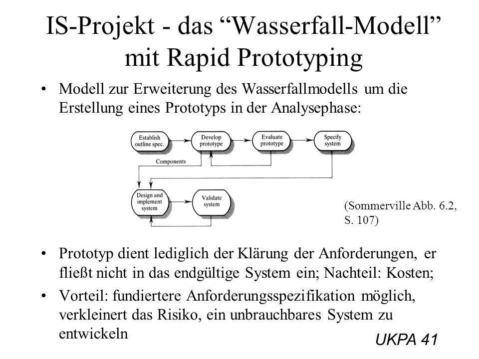 UKPA 41 IS-Projekt - das Wasserfall-Modell mit Rapid Prototyping Modell zur Erweiterung des Wasserfallmodells um die Erstellung eines Prototyps in der