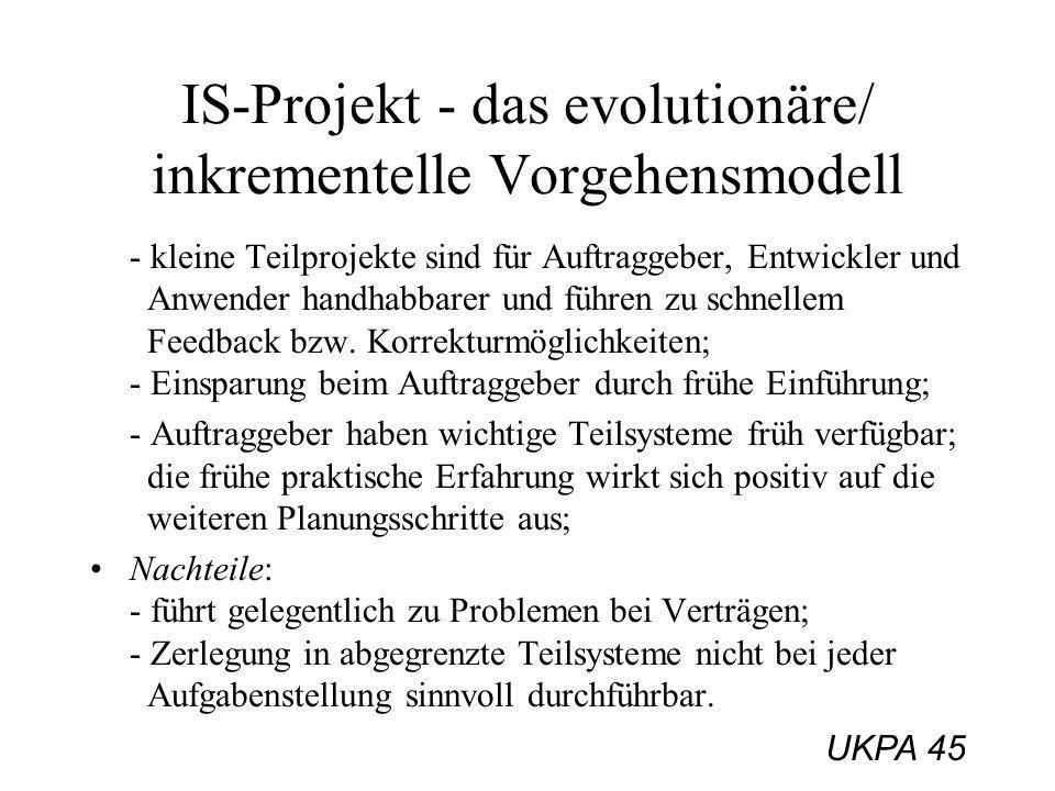 UKPA 45 IS-Projekt - das evolutionäre/ inkrementelle Vorgehensmodell - kleine Teilprojekte sind für Auftraggeber, Entwickler und Anwender handhabbarer