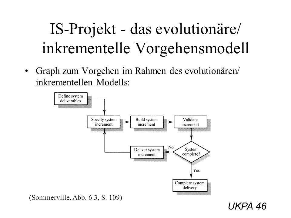 UKPA 46 IS-Projekt - das evolutionäre/ inkrementelle Vorgehensmodell Graph zum Vorgehen im Rahmen des evolutionären/ inkrementellen Modells: (Sommervi