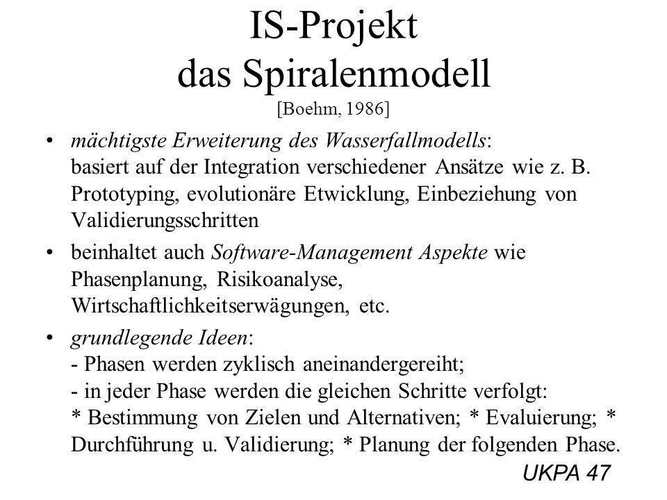 UKPA 47 IS-Projekt das Spiralenmodell [Boehm, 1986] mächtigste Erweiterung des Wasserfallmodells: basiert auf der Integration verschiedener Ansätze wi