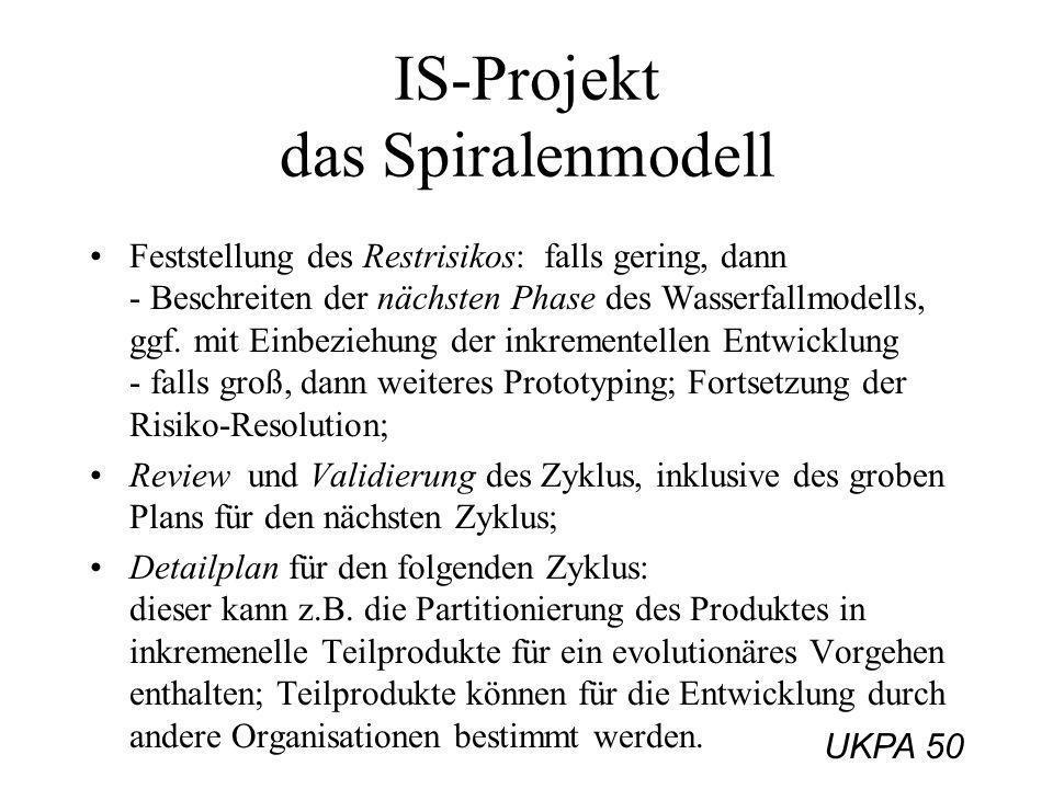 UKPA 50 IS-Projekt das Spiralenmodell Feststellung des Restrisikos: falls gering, dann - Beschreiten der nächsten Phase des Wasserfallmodells, ggf. mi