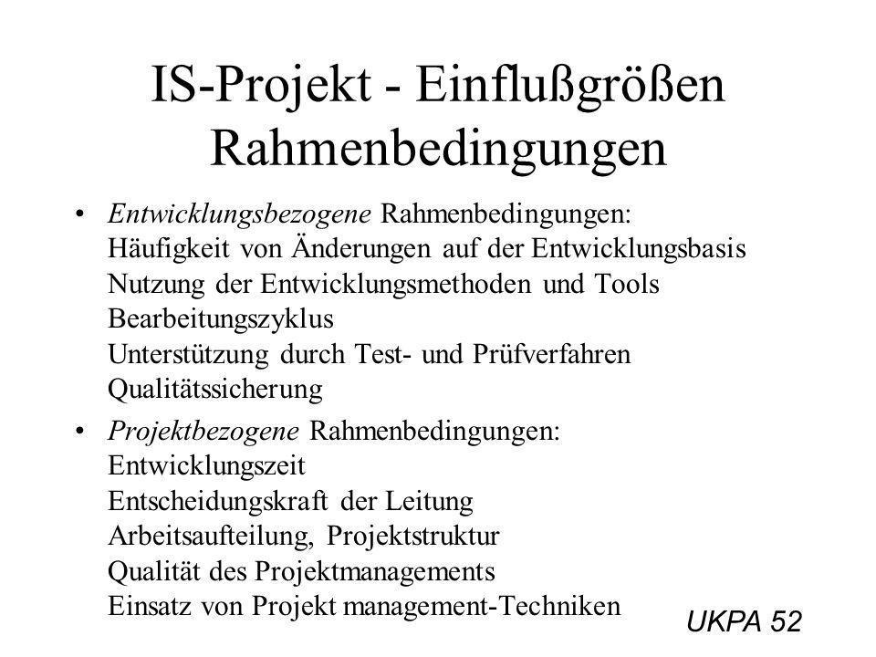 UKPA 52 IS-Projekt - Einflußgrößen Rahmenbedingungen Entwicklungsbezogene Rahmenbedingungen: Häufigkeit von Änderungen auf der Entwicklungsbasis Nutzu