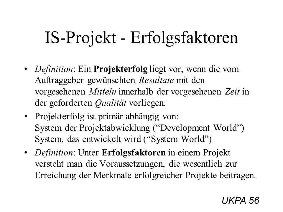UKPA 56 IS-Projekt - Erfolgsfaktoren Definition: Ein Projekterfolg liegt vor, wenn die vom Auftraggeber gewünschten Resultate mit den vorgesehenen Mit