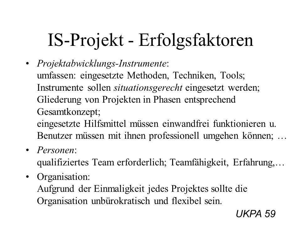 UKPA 59 IS-Projekt - Erfolgsfaktoren Projektabwicklungs-Instrumente: umfassen: eingesetzte Methoden, Techniken, Tools; Instrumente sollen situationsge