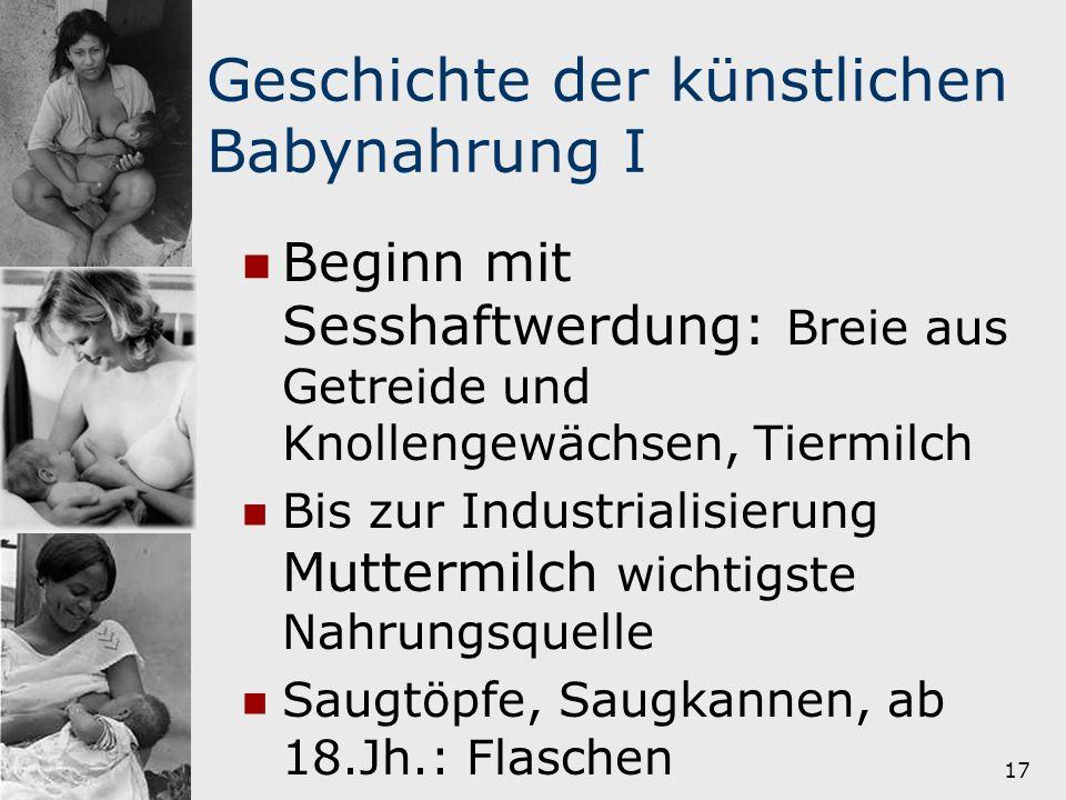 18 Geschichte der künstlichen Babynahrung II Industrialisierung :Breie aus Brot, Wasser und Zucker 19.