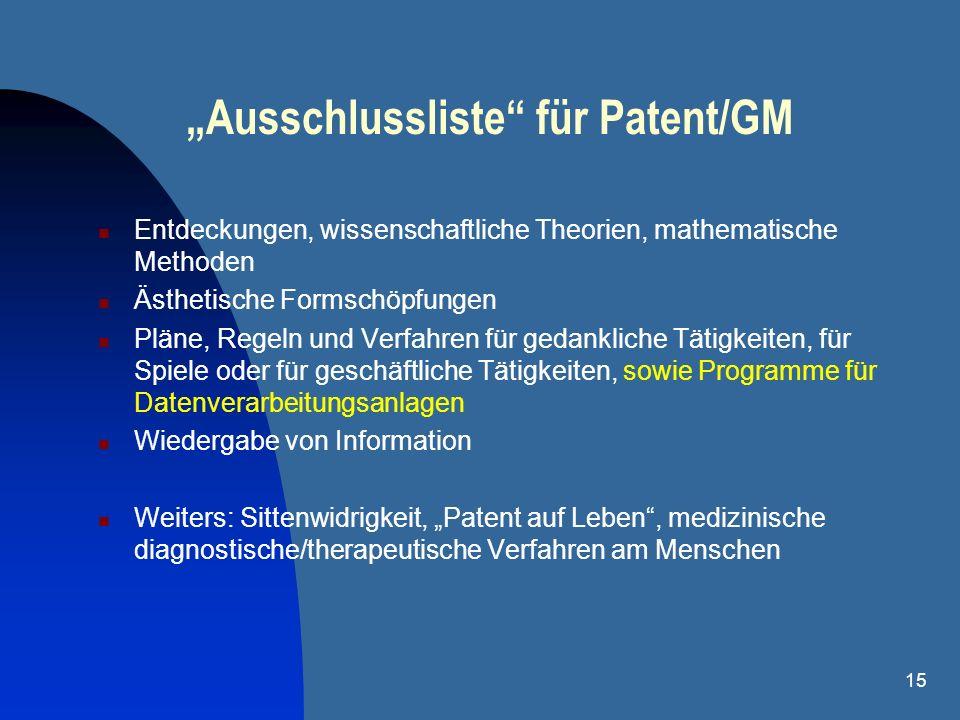 15 Ausschlussliste für Patent/GM Entdeckungen, wissenschaftliche Theorien, mathematische Methoden Ästhetische Formschöpfungen Pläne, Regeln und Verfah