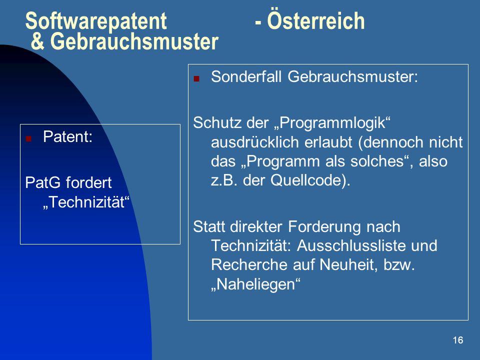 16 Softwarepatent - Österreich & Gebrauchsmuster Patent: PatG fordert Technizität Sonderfall Gebrauchsmuster: Schutz der Programmlogik ausdrücklich er